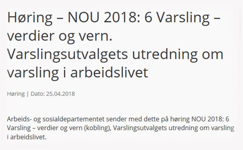 Høringssvar til NOU 2018: 6